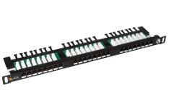 """SOLARIX SX24HD-5E-UTP-BK patch panel UTP 24xRJ45 kat. 5E, 0,5U, 19"""", osazený, s vyvazovací lištou, černý"""