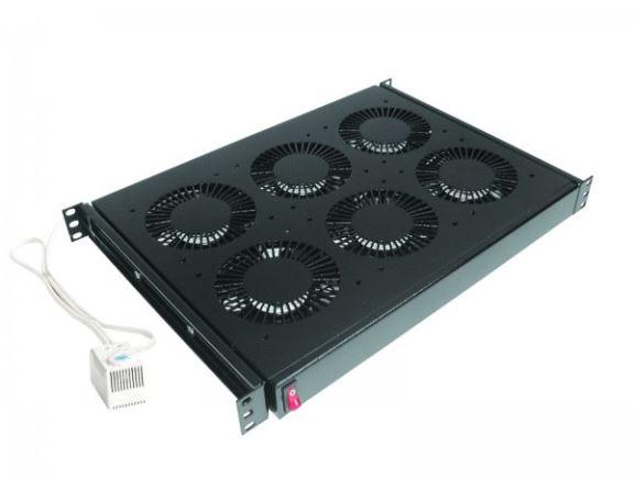 """CONTEG DP-VEN-04-H ventilační jednotka, 4x ventilátor, 230V, s termostatem, 19"""", černá"""