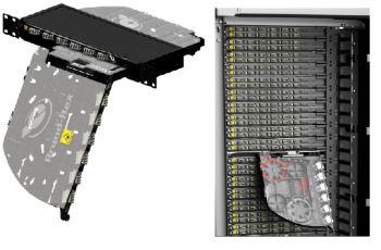 LEVITON FPCPC1XMM48LC2 optická vana FibrePlus Pivoting, 12x quad LC MM,1RU černá