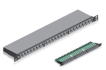 LEVITON C6CPNLU240K2H nestíněný patch panel Cat6Plus, 24xRJ45, kat. 6, 0,5RU, černý, LSA zářez, IDC